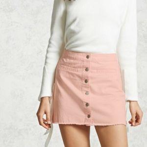 NWT  Frayed Button Down Mini Skirt